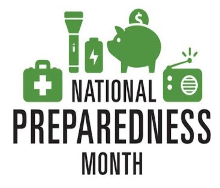 National Preparedness Month logo with a flashlight, piggy bank, radio, and first aid kit