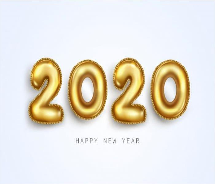 The year 2020 displayed as balloons