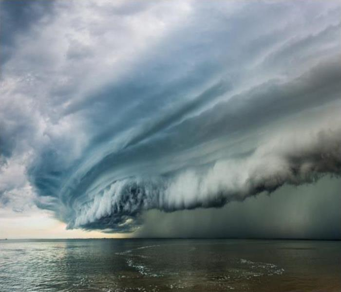 Storm clouds over a body of water